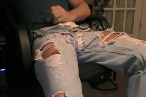 My Son Has A favorite Pair Of Ripped Jeans That he loves To Wear With His darksome Spandex. And Dam Does he Look nice In 'em. So I Borrowed 'em To Jack Off A Load One Day.