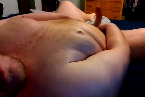 overweight Bear stroking