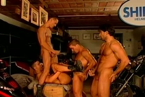 Muscled Biker guys rough And bare bang Feast gay orgy